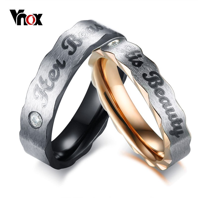 Vnox Her Beauty His Beast Wedding Bands Ring for Women Men Cubic Zirconia Stainless Steel Promise Love Alliance Gift