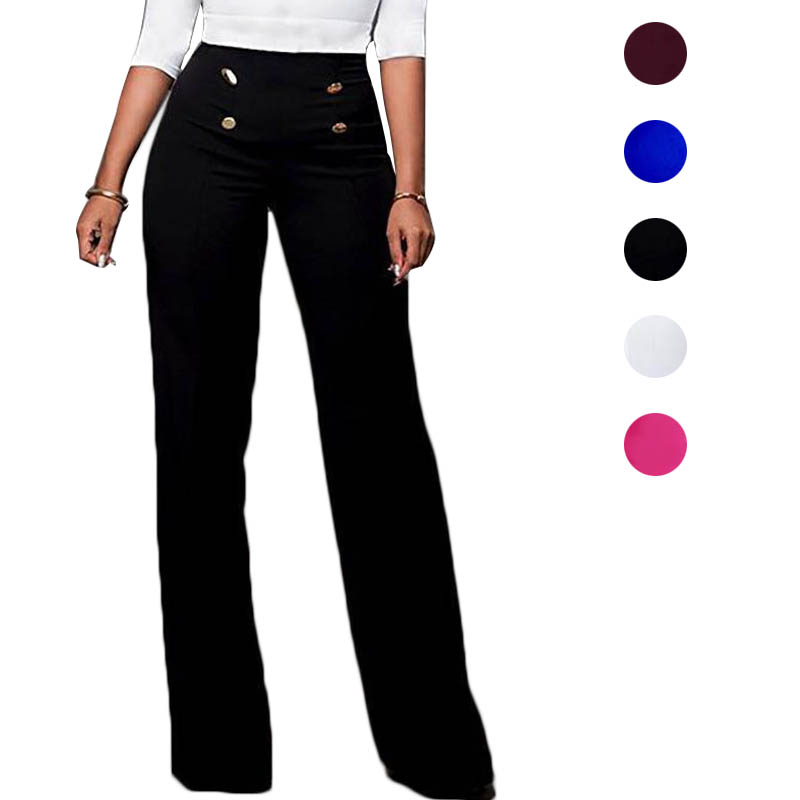 Summer Women Pants High Waist Straight Wide Leg Solid Color Lady Trousers FS99