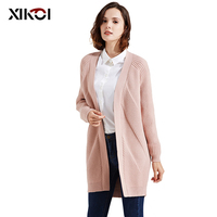 Fashion Women Knitted Sweaters Full V Neck Solid Lady Open Stitch Cardigans Thick Casual Knitting Sweaters Woman Coat