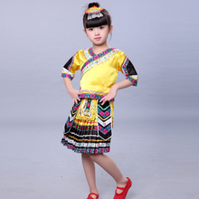 Children Zhuang Nationality Dance Costumes Male and Female Miao Clothing Hmong Clothes Chinese  Folk Dance Costumes