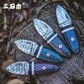 Sanrenmu S675 Damasco acero cuello cuchillo Camping corte táctico colección regalo púrpura sándalo Mini EDC cuchillo de hoja fija
