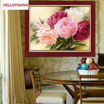 DIY 5D Full Diamonds Embroidery Peony flowers Round Diamond Painting Cross Stitch Kits Diamond Mosaic Home Decoration!