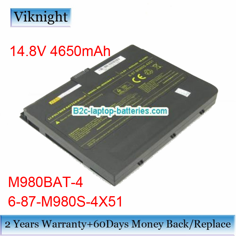 Original 6-87-M980S-4X5 Laptop Battery for Clevo M980BAT-4 X8100 Laptop Battery M980BAT-4 6-87-M980S-4X51 14.8V 4650mAh hot sale original quality new laptop battery for clevo d450tbat 12 d450t 87 d45ts 4d6 14 8v 6600mah free shipping