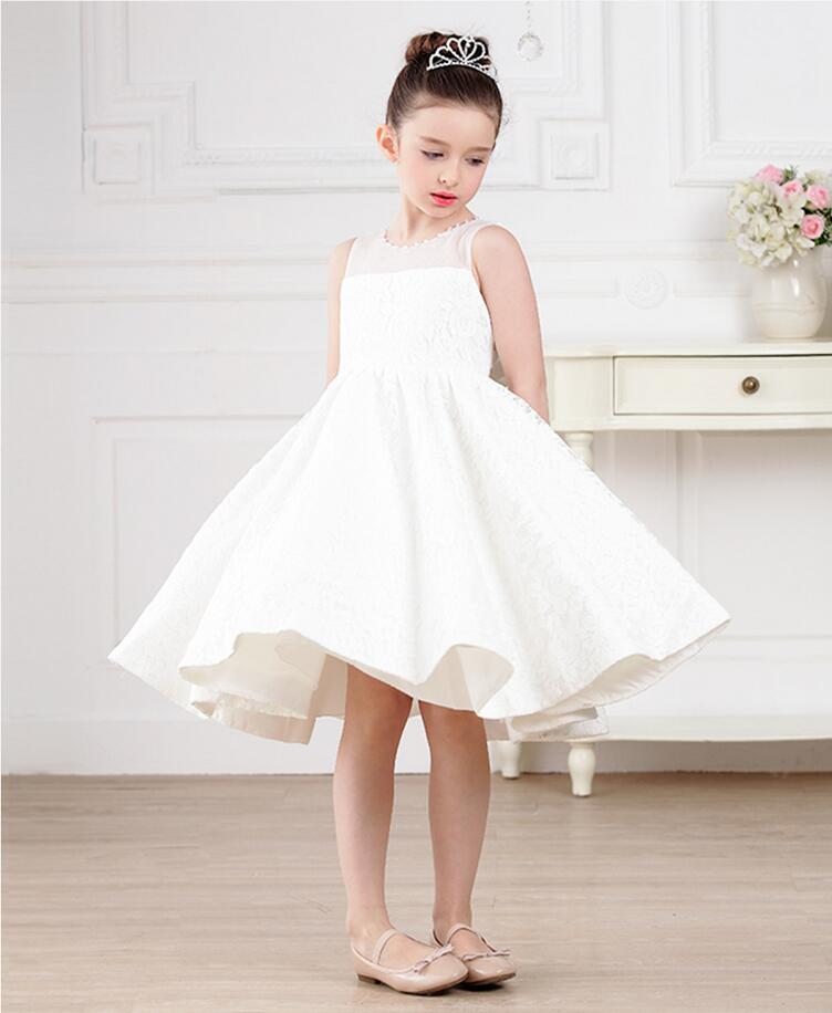 A-Line Flower Girl Dresses White Real Party Pageant Communion Dress Little Girls Kids/Children Dress for Mother Daughter Dresses