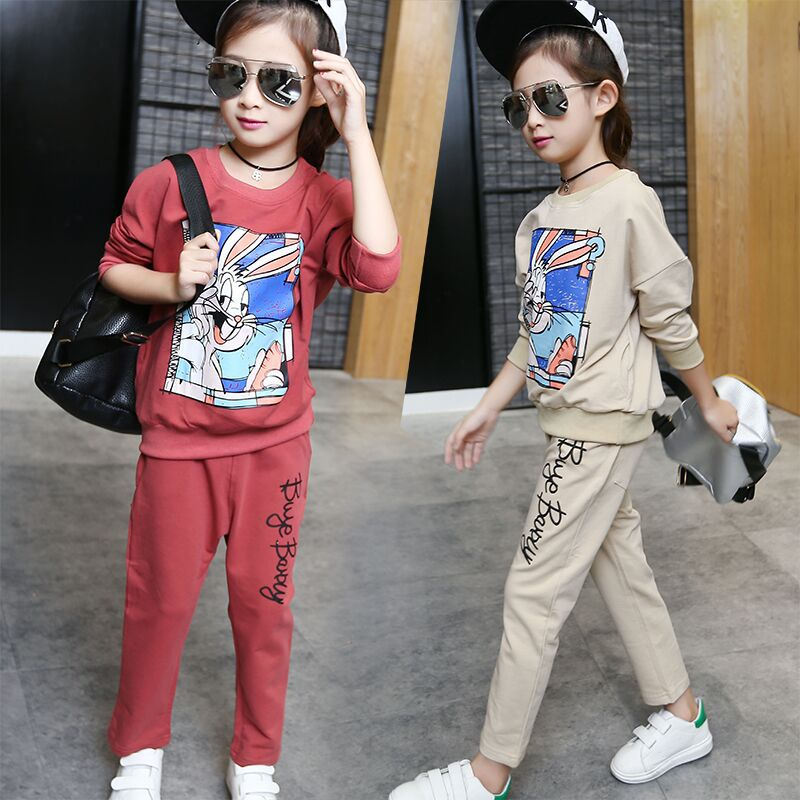 2017 New Spring Autumn Girls Cotton Clothing Set Girls Kids Long Sleeve Cute Cortoon Pattern Sport Suit Set 2PCS Top+Pants 5-14Y