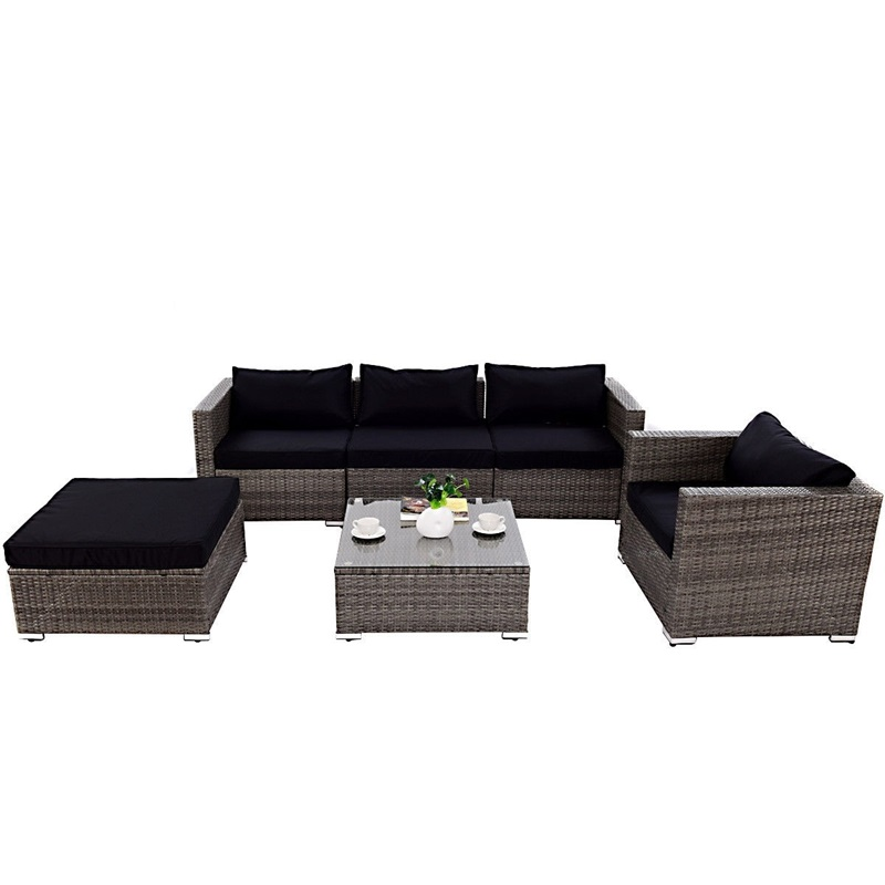 6 Pcs Patio Rattan Wicker Sectional Furniture Set W/ Black Cushion Outdoor Garden Furniture Sets HW59185+