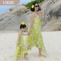 2016 Family clothes Paternity Vacation Holiday dress chiffon skirt mother daughter Ladies Girl dress Yellow summer beach dresses