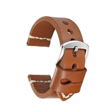 Onthelevel handmade leather genuine strap 22mm brown aircraft buckle hand-stitched wax line 2018 new