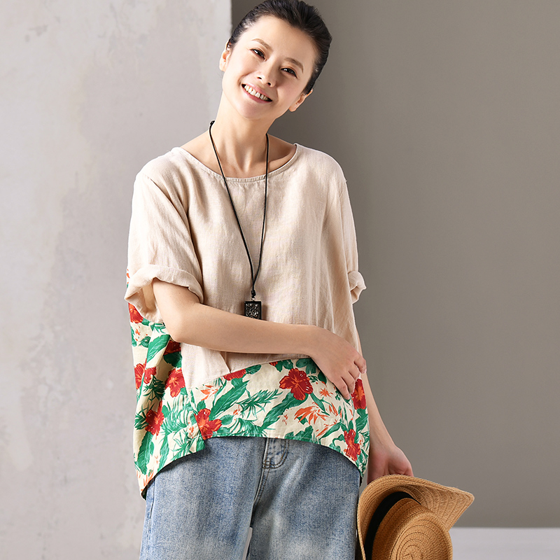 C1106 Artistic large size round collar short sleeve patchwork floral cotton and linen shirt small blouse