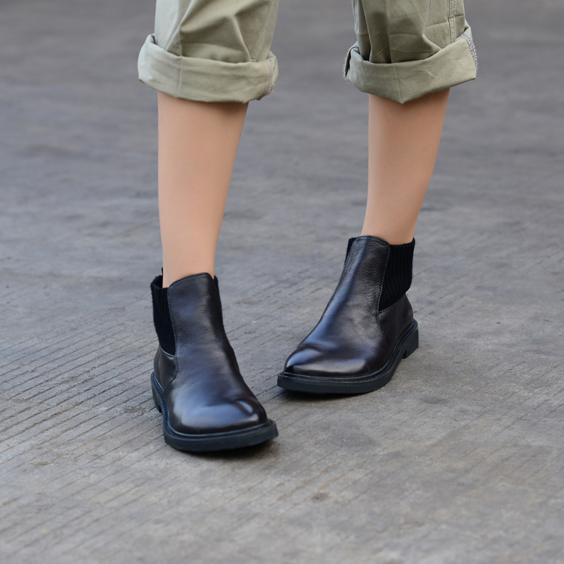 Femme Chelsea Pour Bas Ronde 2019 Noir Cuir Talon Automne Femmes En Tête Bottines Hiver Black Confortable Chaussures Xiangban P6qvBv
