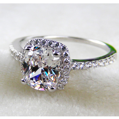2 Carat Pure Solid 18k White Gold Ring Fabulous Princess Shape Cushion Cut Simulate Diamond Engagement Statement Gift In Rings From Jewelry
