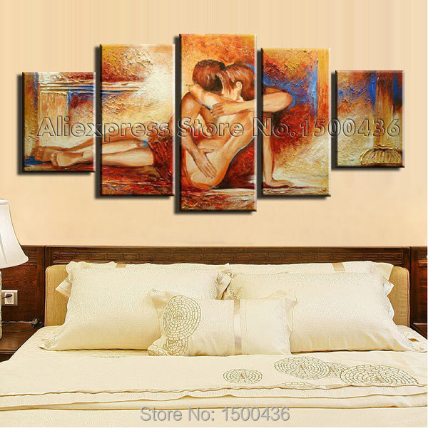 Hand Painted Abstract Nude Wall Decor Oil Painting On Canvas 5 Piece ...