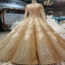 2018 new Backless Lace Ball Gown ChampagneWedding Dresses with Long Sleeve  Luxury champagne bridal wedding gowns Real Photos