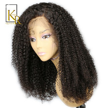 Lace Front Human Hair Wigs For Black Women Brazilian Afro Kinky Curly Human Hair Wig Remy Hair Pre Plucked Bleached Knots VS BOB(China)
