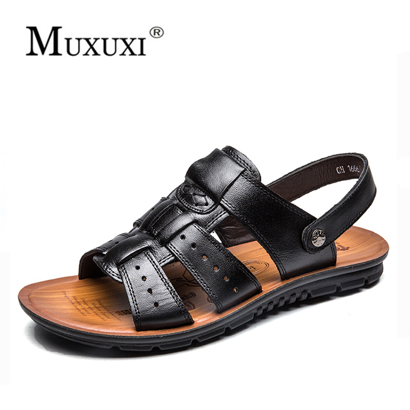 Men Sandals Natural Leather Soft Sole Casual Shoes comfortable Outdoor Beach Sandals shoes Summer Mens Slipper Plus Size 38-48