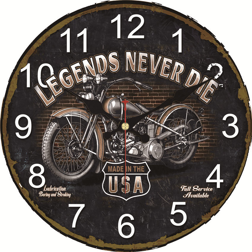 WONZOM Vintage Wall Clock Motorcycle Design Relogio De Parede Large Silent For Living Room Saat Decor Old Route Watch Wall Gift