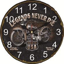 c64282a85 WONZOM خمر ساعة حائط دراجة نارية تصميم Relogio دي Parede كبيرة صامتة لغرفة  المعيشة سات ديكور