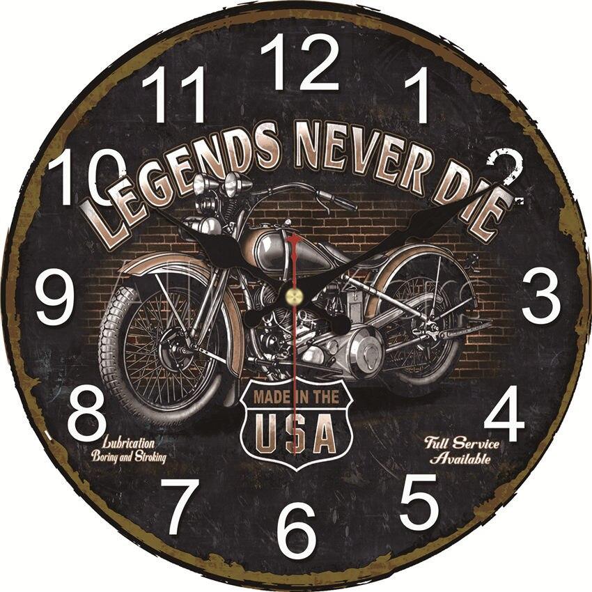 Wonzom design da motocicleta relógio de parede do vintage relógio de parede grande silencioso para sala estar saat decoração velha rota presente parede