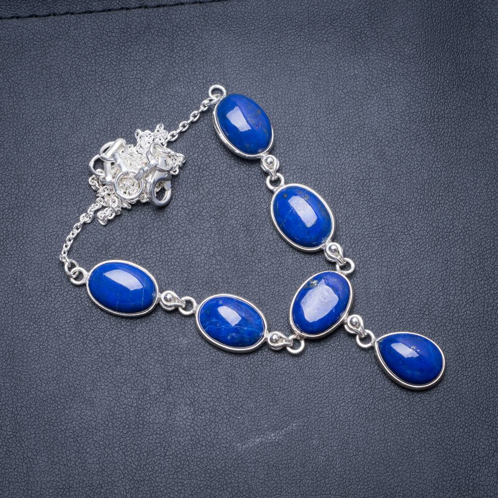 Natural Lapis Lazuli Handmade Unique 925 Sterling Silver Necklace 18.5