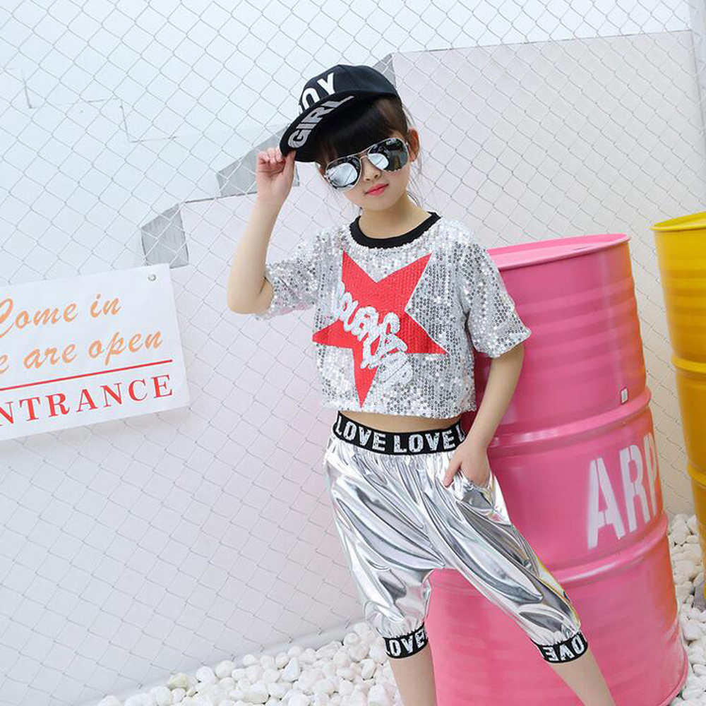 Girls Sequined Ballroom Modern Jazz Dance Costume Performance Outfits Kids Tops+ Pants Hip Hop Dancing Wear Party Stage Clothes