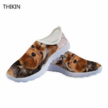 THIKIN Summer Running Shoes Women Men Outdoor Sports Mesh Shoes Breathable Light Cute Yorkshire Terrier Print Sneakers Lady