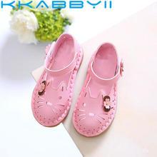 Новинка года; модные детские летние сандалии с милым рисунком; открытые туфли принцессы для девочек; весенние дышащие кроссовки с бантом и цветочным рисунком
