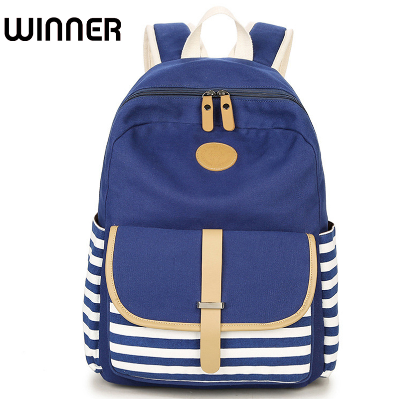 Winner Brand College Striped Women Travel Backpack Daily Book Bags Preppy School Bag for Teenagers Girl Fringe Back Pack