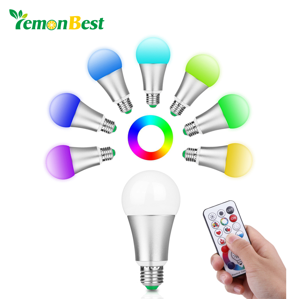 Memory Function 10W RGB W E27 LED Bulb Light Stage Lamp LED 220V 120 Colors Powerful Led Lights for Home AC 85-265V with Remote agm rgb led bulb lamp night light 3w 10w e27 luminaria dimmer 16 colors changeable 24 keys remote for home holiday decoration