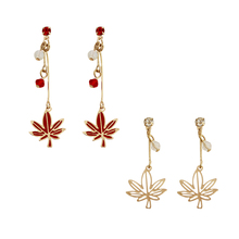 SANSUMMER 2019 New Personality Originality Art And Simplicity Maple Leaf Chain Long Ear Studs Temperament Goddess Earrings 5041