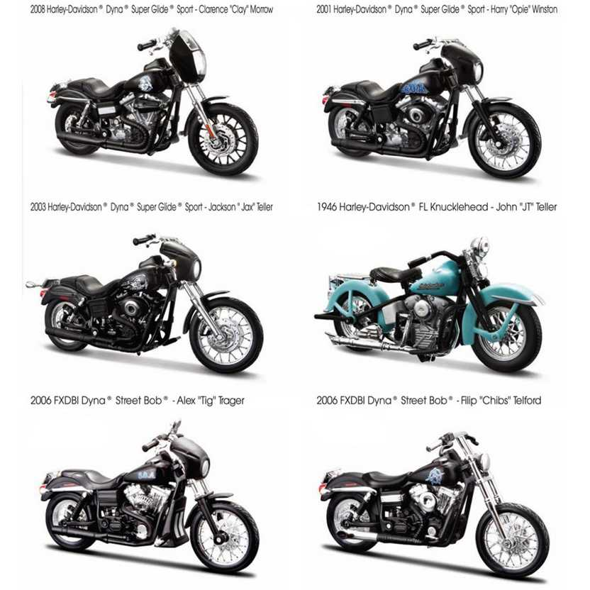 Maisto 118 Harley 1946 Fl Knucklehead 2006 Fxdbi Dyna Street Bob 2001 2003 2008 Dyna Super Glide Motorcycle Bike Model