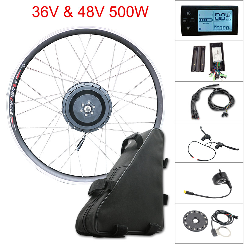"36V 48V 500W Electric Bike Kit for 20"" 24"" 26"" 700C(28"") Motor Wheel ebike e bike Kit With Lithium Battery Bike Accessories"