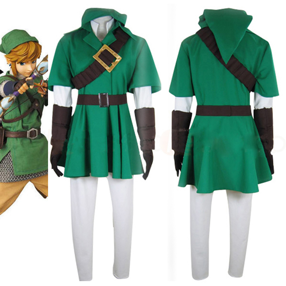 The Legend of Zelda Link Cosplay Costume Uniform Halloween Costume Custom Made For Men