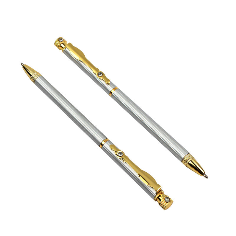 Students Stainless Steel Ball-point Pen Short Spin Office School Teens Tool Acc