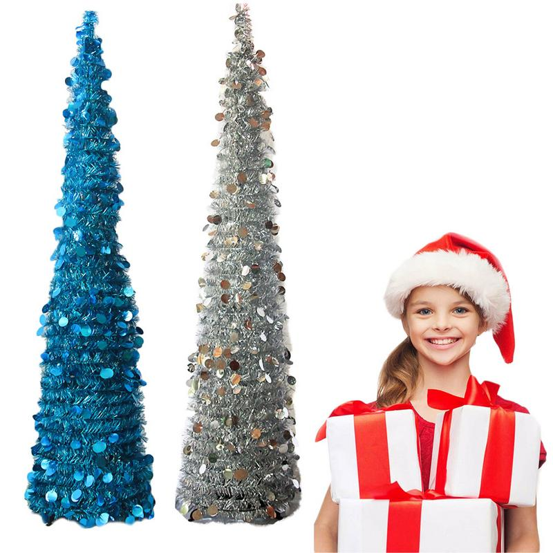 Reflective Sheet Metal Artificial Christmas Tree Foldable Reusable Wedding Holiday Party Sparkling Companion Tree Christmas Tree