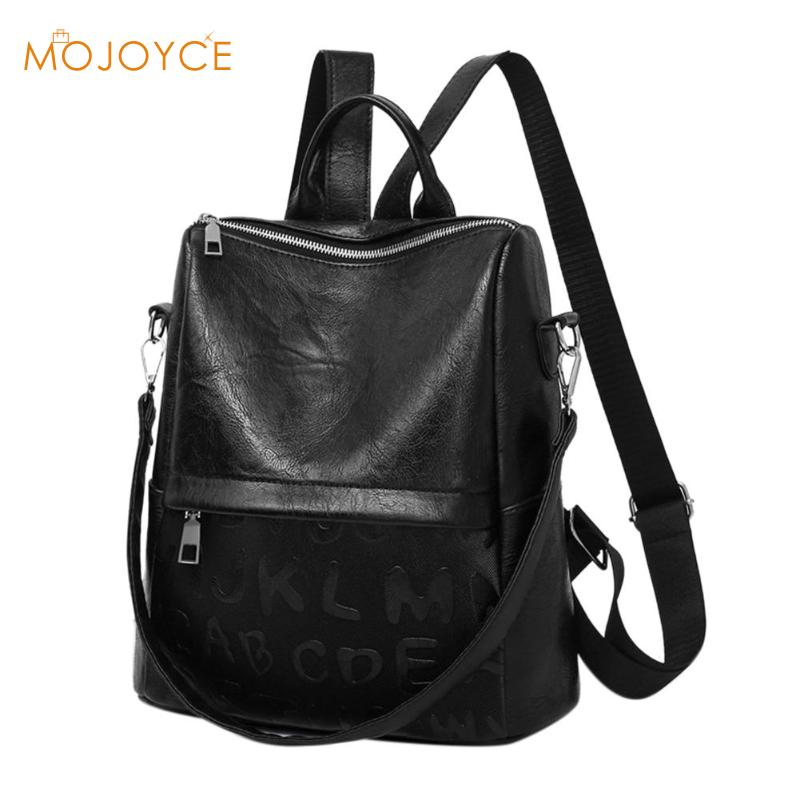 Women Travel Casual Leather Backpack Teenage Girls School Shoulder Bags Students Simple Rucksack O