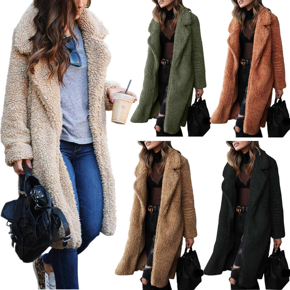 Warm coat 2019 autumn/winter selling Europe hot style long-sleeve female fluffy coat lapels Long coat women vestidos LDM181118