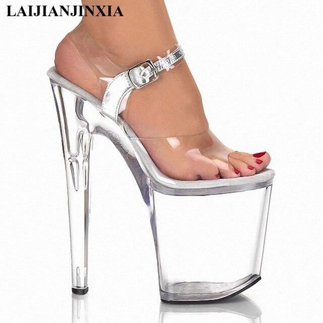 765a7bff7d LAIJIANJINXIA 20 cm alta-sapatos de salto alto sandálias de cristal  transparente 8 polegada sapatas