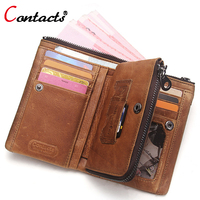 CONTACT S Genuine Leather Men S Wallet Purse Male Card Holder Coin Wallets Vintage Famous Brand