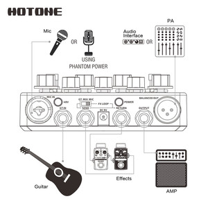 Image 4 - Hotone A Station Acoustic Preamp DI Box Guitar & Microphone Guitar Effects Pedal 9V Adapter Included AD20