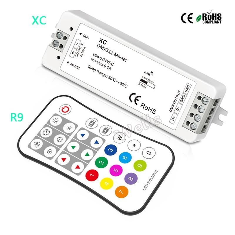 XC RGB DMX Master Controller;5-24VDC Input DMX512 Signal Output RGB DMX512 Master LED Controller;R9 2.4G 27 Key SPI Remote