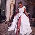 Vestido de noche Sexy Apliques Rebordear Sash Una Línea Corta de Gasa Drapeado Hendidura Lateral Vestido Largo Vestidos