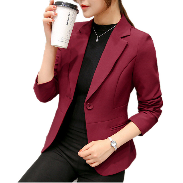 2018 Wine Red Black Women Blazers And Jackets Spring Autumn Fashion Single Button Blazer Femenino Ladies Blazer Female top Y648
