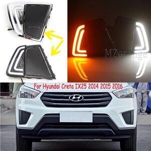 Для Hyundai Creta IX25 2014-2016 Автомобильные фары водонепроницаемые IP67 DRL 2 шт. светодиодный дневные ходовые огни Противотуманные фары желтые поворотн...