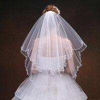 Fashion Beaded Edge Wedding Veil with Comb Crystal Bridal Accessories Bride Veils