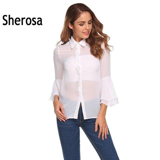 d959c064e6a9fa Sherosa Chiffon Shirt Turn Down Collar Flare Long Sleeve Button Sexy See  Through Transparent Sheer Blouse Summer Tops For Women