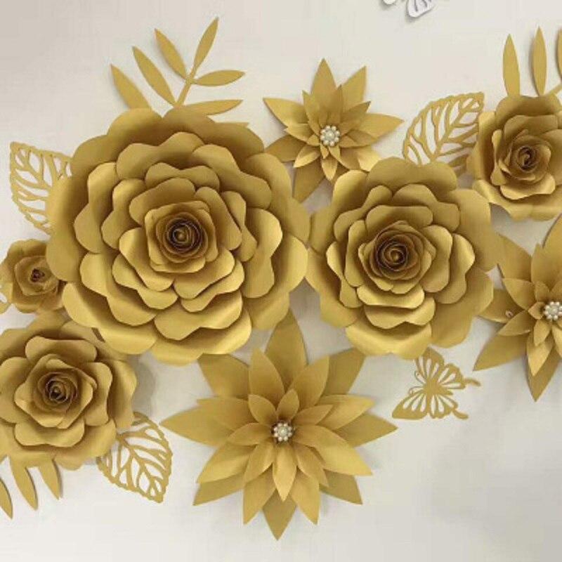 M s barato 8 unids set flores gigantes de papel hojas 2 - Papel para pared barato ...