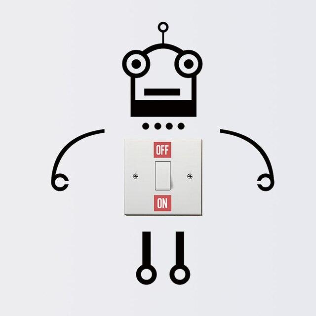 Robô dos desenhos animados Interruptor Adesivo de Parede Adesivo Quarto PVC Papel de Parede TV Sofá Fundo papel de parede DIY Removível Decalques