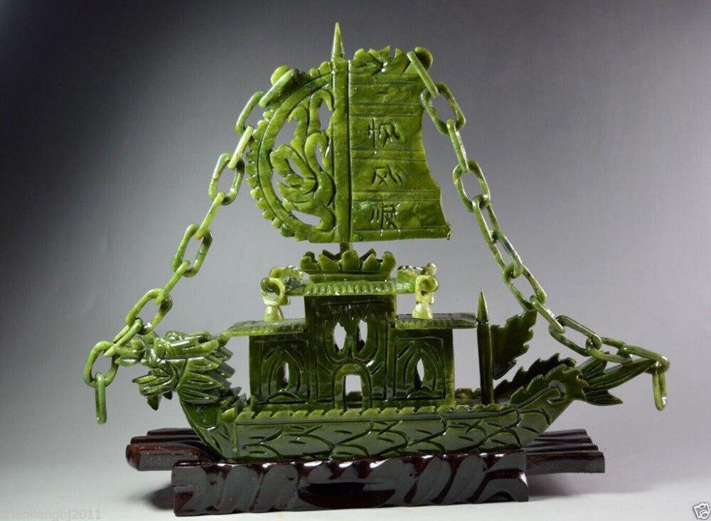 Китайский резной 100% натуральный нефрит Дракон Ладан Статуя Дракона лодка