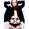 Sexy Pub Club Party Handcrafted Punk Gothic Rock Leather Harness Triangle Waist Cincher Body Bondage Belt Straps for Jeans Dress
