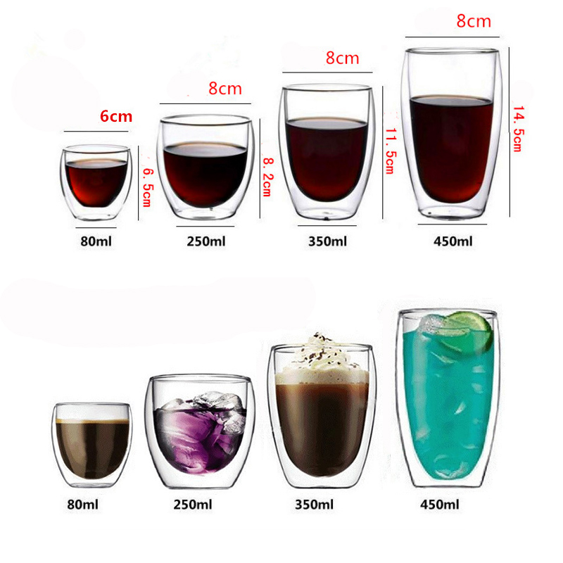 350ML Heat resistant Double Wall Glass Tea Cup Coffee Cup Mugs Transparent Insulation Beer Glasses Cups